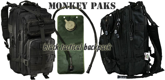 Monkey Paks Black Tactical Backpack with Hydration Bladder Included, Plus Side View