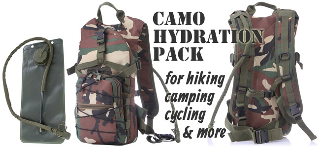 Camo Hydration Pack for Camping, Hiking, Cycling and more