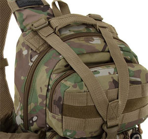 Y-Shaped Compression Strap on Tactical Sling Backpack
