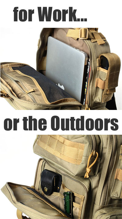 Military Shoulder Bag for Hiking or Work, Fits Laptop Computer Plus Hiking Gear
