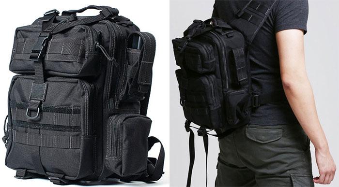 Military Style Shoulder Bag in Black