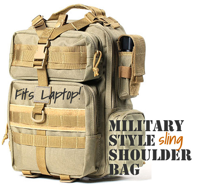 Military Style Shoulder Bag with Single Sling strap