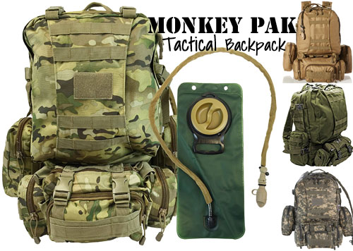 Monkey Paks Tactical Backpack with Bladder, Multiple Colors