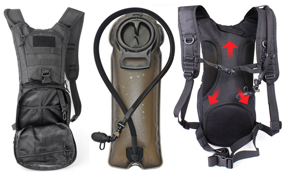 Unigear Tactical Hydration Pack with View of Bladder, Pockets