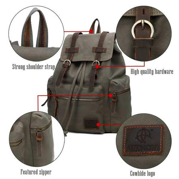 Canvas Vintage Military Backpack -  40 Bargain Laptop Bag 448c05f37bb0e