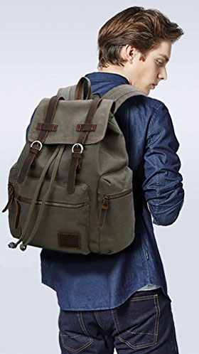Man Wearing Canvas Vintage Military Backpack